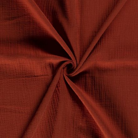 Tissu Double gaze de coton uni Terracotta - Par 10 cm