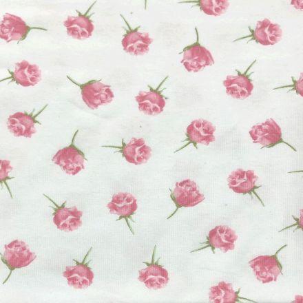 Tissu Jersey Coton Parfumé Roses sur fond Blanc - Par 10 cm