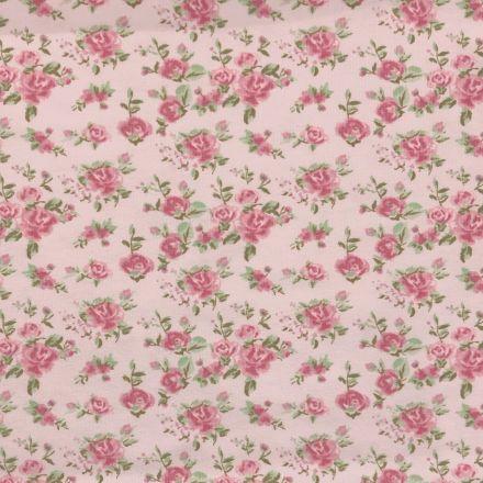 Tissu Jersey Coton Parfumé Floral Roses sur fond Rose - Par 10 cm