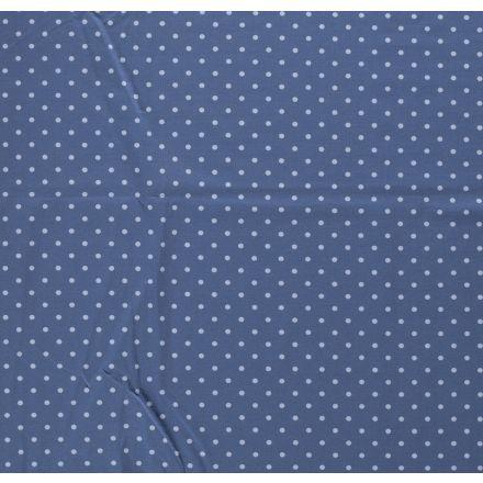 Tissu Jersey Coton Pois bleu ciel sur fond Bleu denim - Par 10 cm