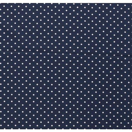 Tissu Jersey Coton Pois blanc sur fond Bleu marine - Par 10 cm
