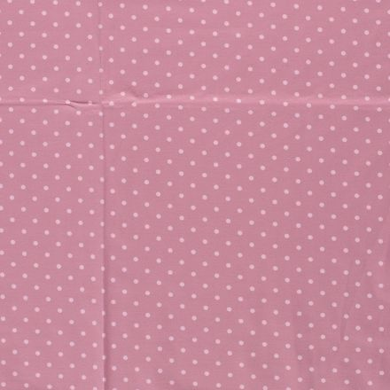 Tissu Jersey Coton Pois Rose pâle sur fond Vieux rose - Par 10 cm