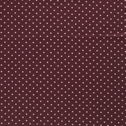 Tissu Jersey Coton Pois rose sur fond Lie de vin - Par 10 cm