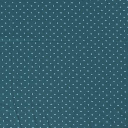 Tissu Jersey Coton Pois bleu ciel sur fond Bleu pétrole - Par 10 cm