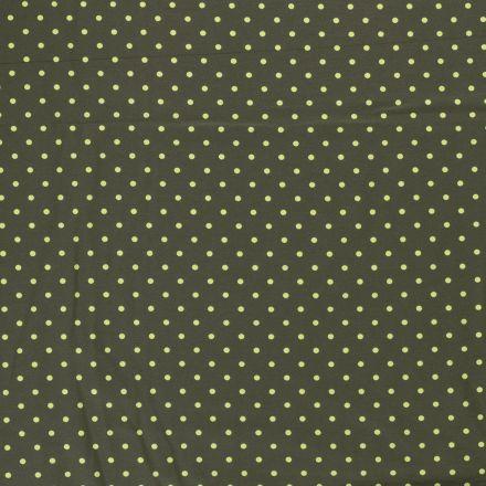 Tissu Jersey Coton Pois vert anis sur fond Vert kaki - Par 10 cm