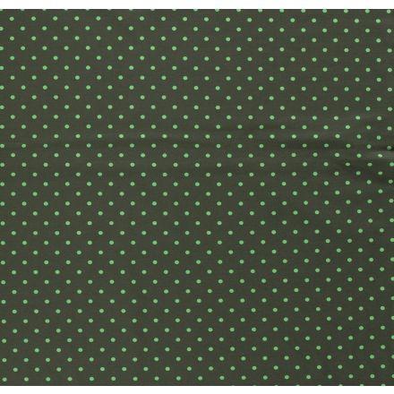 Tissu Jersey Coton Pois vert sur fond Vert kaki foncé - Par 10 cm