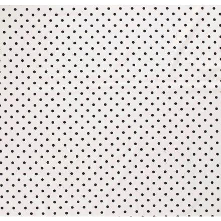 Tissu Jersey Coton Pois noir sur fond Blanc - Par 10 cm