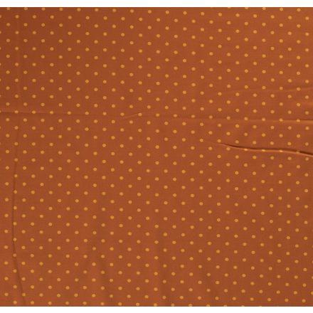Tissu Jersey Coton Pois orange sur fond Brique - Par 10 cm