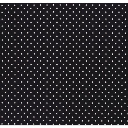 Tissu Jersey Coton Pois blanc sur fond Noir - Par 10 cm