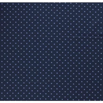 Tissu Jersey Coton Pois bleu ciel sur fond Bleu - Par 10 cm