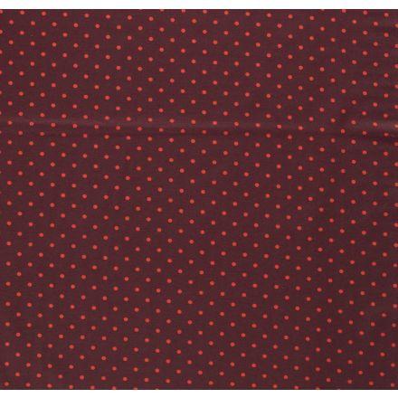 Tissu Jersey Coton Pois fuchsia sur fond Bordeaux foncé - Par 10 cm