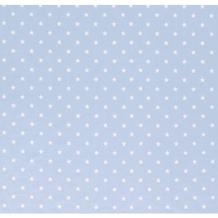 Tissu Jersey Coton Etoiles blanches sur fond Bleu ciel - Par 10 cm