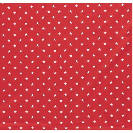 Tissu Jersey Coton Etoiles blanches sur fond Rouge - Par 10 cm