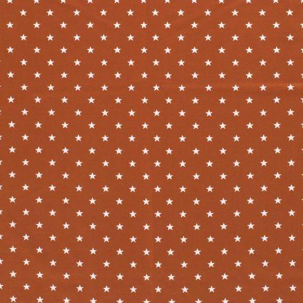 Tissu Jersey Coton Etoiles blanches sur fond Brique - Par 10 cm