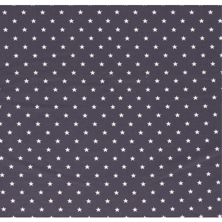 Tissu Jersey Coton Etoiles blanches sur fond Gris anthracite - Par 10 cm