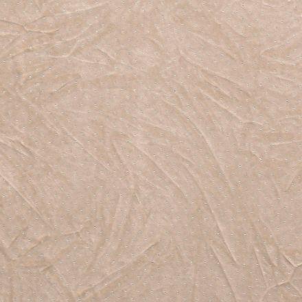 Tissu Velours jersey épais Strass argentés sur fond Beige - Par 10 cm