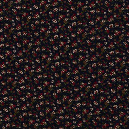 Tissu Jersey Viscose Petits bouquets de fleurs sur fond Bleu marine - Par 10 cm