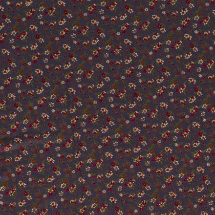 Tissu Jersey Viscose Petits bouquets de fleurs sur fond Gris foncé - Par 10 cm