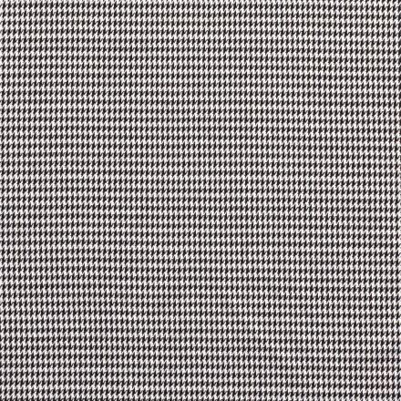 Tissu Jacquard Extensible Pied de poule noir sur fond Blanc - Par 10 cm