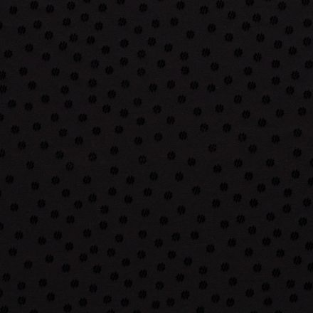 Tissu jersey Milano Fleur en relief velours noir sur fond Noir - Par 10 cm