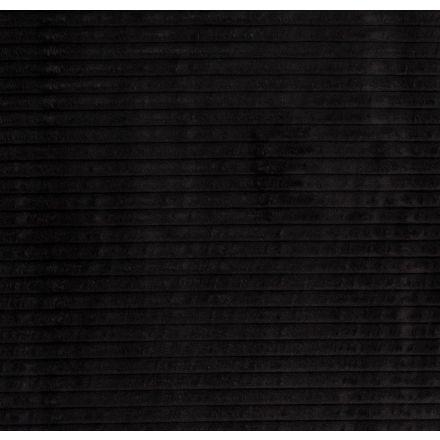 Tissu Minky à grosses côtes Ultra doux Noir - Par 10 cm