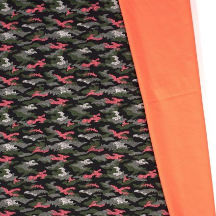 Tissu Softshell  Camouflage envers polaire corail fluo sur fond Noir - Par 10 cm