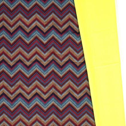 Tissu Softshell Chevrons envers polaire  jaune fluo sur fond Bordeaux - Par 10 cm