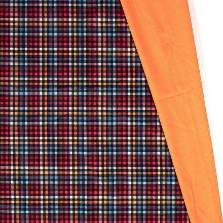Tissu Softshell envers polaire Carreaux Néon sur fond Rouge - Par 10 cm