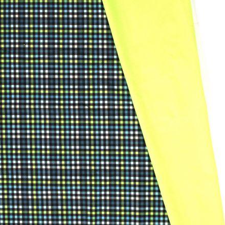 Tissu Softshell envers polaire Carreaux Néon sur fond Vert - Par 10 cm
