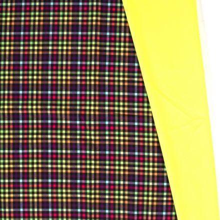 Tissu Softshell envers polaire Carreaux Néon sur fond Jaune - Par 10 cm