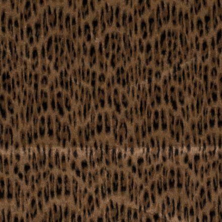 Tissu lainage Jacquard Tâches léopards sur fond Camel - Par 10 cm