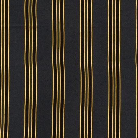 Tissu crêpe imprimé Rayures noires et jaunes sur fond Vert foncé - Par 10 cm