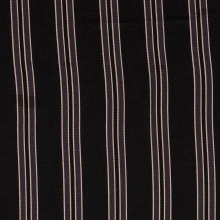 Tissu crêpe imprimé Rayures grises anthracite et grises sur fond Noir - Par 10 cm