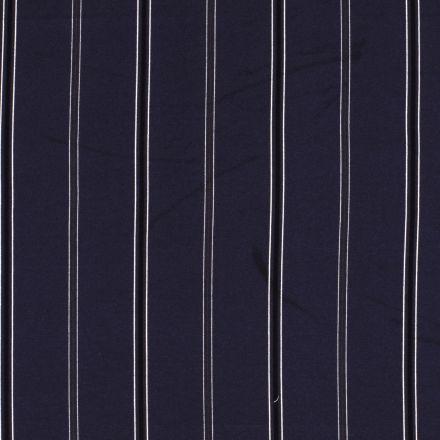Tissu crêpe imprimé Rayures noires et grises sur fond Bleu marine - Par 10 cm