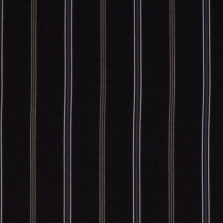 Tissu crêpe imprimé Rayures bleues et beiges sur fond Noir - Par 10 cm