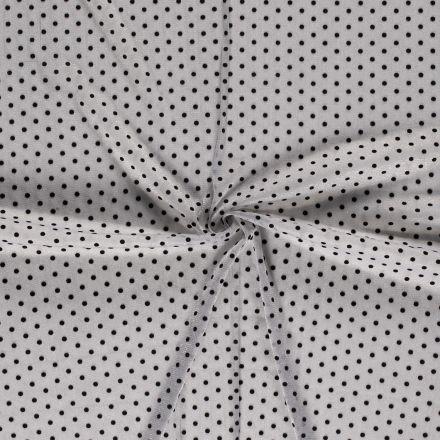 Tissu Mousseline ajourée Lurex Pois relief velours Noirs sur fond Argent - Par 10 cm