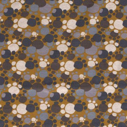 Tissu Sweat envers minky Pattes d'ours Grises et taupes sur fond Ocre - Par 10 cm