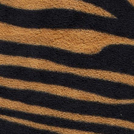 Tissu Doudou Zébré noir sur fond Caramel - Par 10 cm