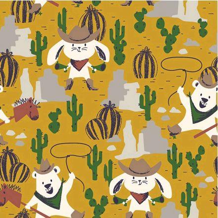 Tissu Jersey Coton Ours et Lapin  Western sur fond Jaune - Par 10 cm