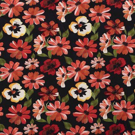 Tissu Jersey Viscose imprimé Fleurs Rouges et roses sur fond Noir - Par 10 cm