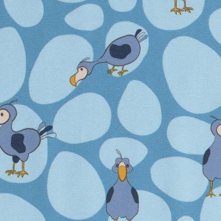 Tissu Jersey Coton LittleBird Oiseaux dodo sur fond Bleu - Par 10 cm
