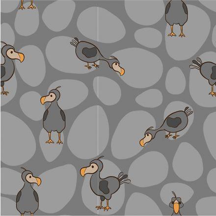 Tissu Jersey Coton LittleBird Oiseaux dodo sur fond Gris - Par 10 cm