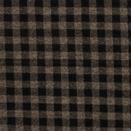 Tissu Lainage Carreaux noir sur fond Beige - Par 10 cm