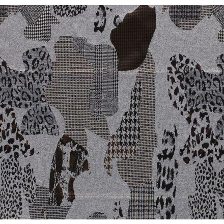 Tissu Jacquard Extensible motifs abstrait animalier sur fond Gris - Par 10 cm