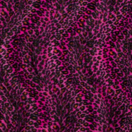 Tissu Velours Peau de bête Léopard Rose - Par 10 cm