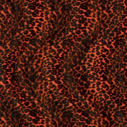 Tissu Velours Peau de bête Léopard Orange - Par 10 cm