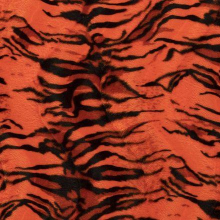 Tissu Velours Peau de bête Tigré Orange - Par 10 cm