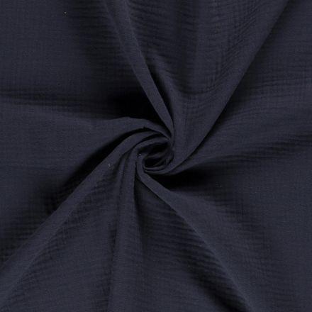 Tissu Triple gaze de coton Bleu marine - Par 10 cm