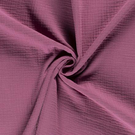 Tissu Triple gaze de coton Lie de vin - Par 10 cm