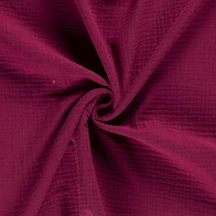 Tissu Triple gaze de coton Bordeaux - Par 10 cm